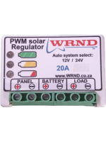 WRND 12V & 24V Solar Regulator, 20A w/ Load, Temp sens, LEDs