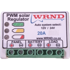 WRND 12V & 24V Solar Regulator, 30A w/ Load, Temp sens, LEDs